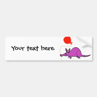 Funny Purple Aardvark with Orange Balloon Car Bumper Sticker