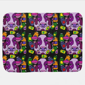 Funny Purple Cow and Milk Abstract Art Baby Blanket