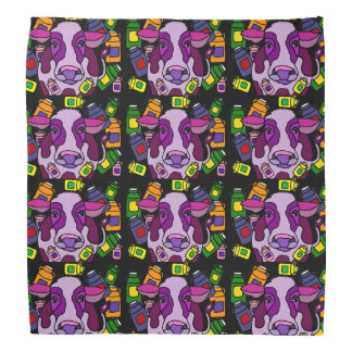 Funny Purple Cow and Milk Abstract Art Bandana