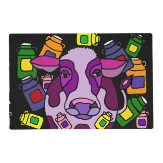 Funny Purple Cow and Milk Jugs Abstract Placemat Laminated Placemat