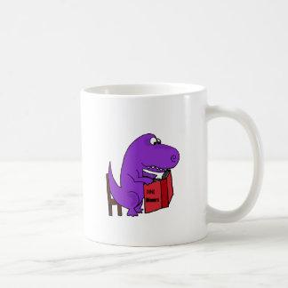 Funny Purple Dinosaur Reading Cookbook Coffee Mug