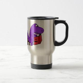 Funny Purple Dinosaur Reading Cookbook 15 Oz Stainless Steel Travel Mug