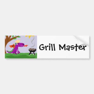 Funny Purple Dragon Grill Master Bumper Sticker