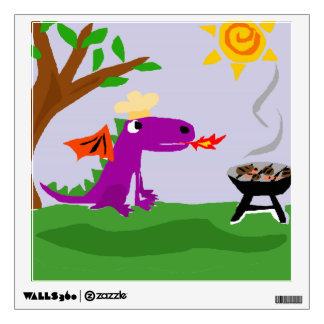 Funny Purple Dragon Grill Master Wall Decor
