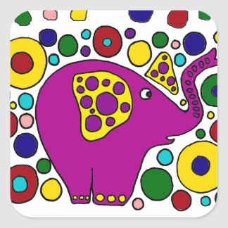 Funny Purple Elephant Abstract Art Design Square Stickers