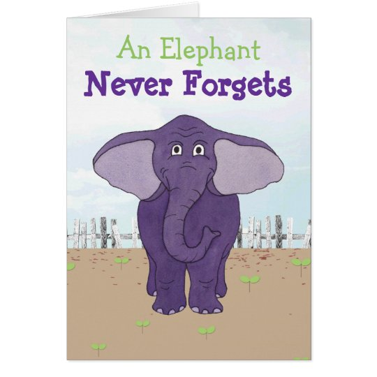 Funny Purple Elephant Belated Birthday Card Zazzlecom