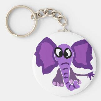 Funny Purple Elephant Primitive Art Basic Round Button Keychain