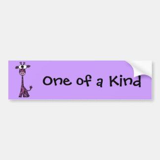 Funny Purple Giraffe Cartoon Bumper Sticker