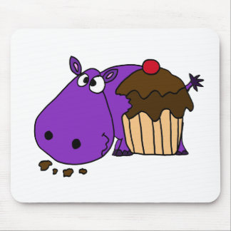 Funny Purple Hippo Eating Cupcake Mouse Pad
