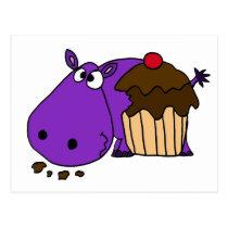 Funny Purple Hippo Eating Cupcake Postcard