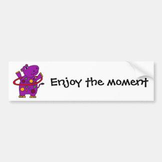 Funny Purple Hippo Playing Hula Hoop Car Bumper Sticker