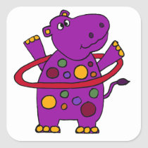 Funny Purple Hippo Playing Hula Hoop Square Sticker