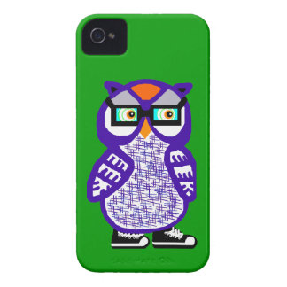 Funny Purple Hipster Owl Green iPhone 4 Case