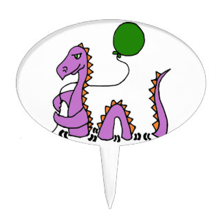 Funny Purple Loch Ness Monster with Green Balloon Cake Topper