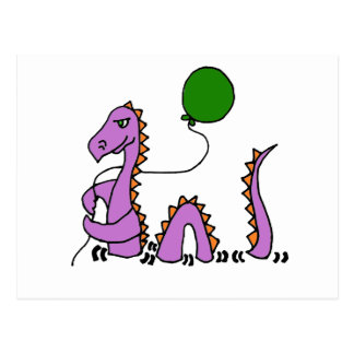 Funny Purple Loch Ness Monster with Green Balloon Postcard