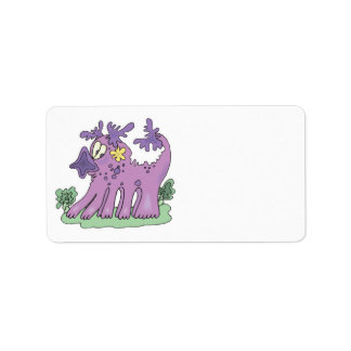 funny purple monster personalized address labels