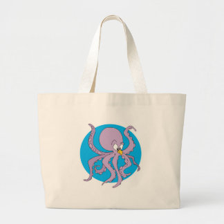 funny purple octopus large tote bag