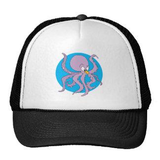 funny purple octopus trucker hat