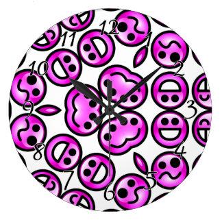 Funny Purple Pain Emoticons Large Clock