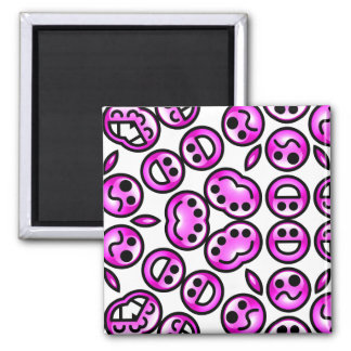 Funny Purple Pain Emoticons 2 Inch Square Magnet
