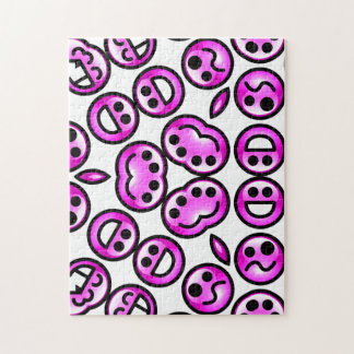Funny Purple Pain Emoticons Jigsaw Puzzle