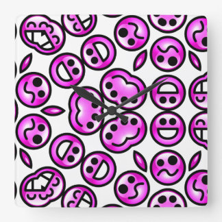 Funny Purple Pain Emoticons Square Wall Clock