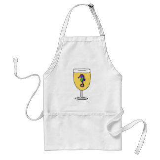 Funny Purple Seahorse in White Wine Glass Adult Apron