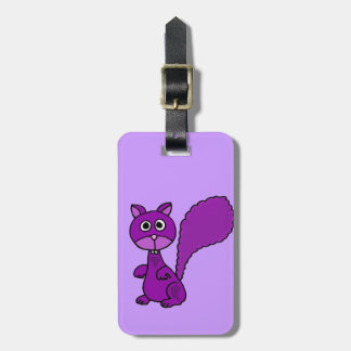 Funny Purple Squirrel Cartoon Luggage Tag