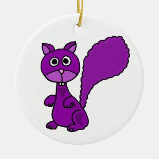 Funny Purple Squirrel Cartoon Christmas Ornament