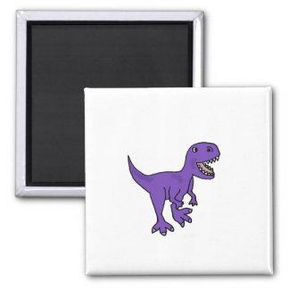 Funny Purple T-Rex Dinosaur Cartoon Magnet