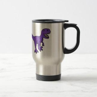 Funny Purple T-Rex Dinosaur Cartoon Travel Mug