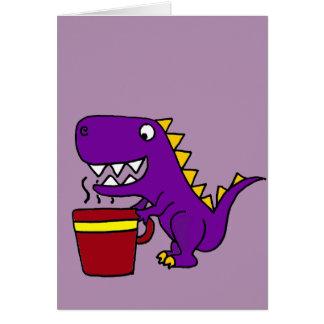Funny Purple T-Rex Dinosaur with Coffee Mug Card