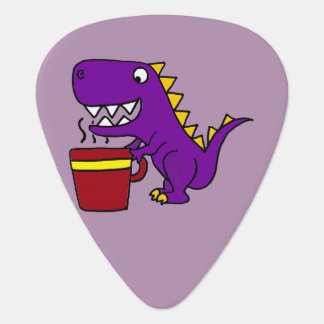 Funny Purple T-Rex Dinosaur with Coffee Mug Guitar Pick