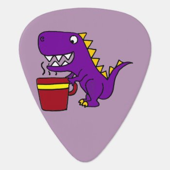 Funny Purple T-rex Dinosaur With Coffee Mug Guitar Pick by tickleyourfunnybone at Zazzle