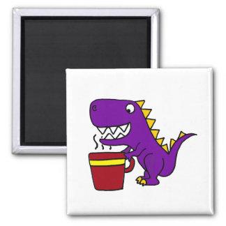 Funny Purple T-Rex Dinosaur with Coffee Mug 2 Inch Square Magnet