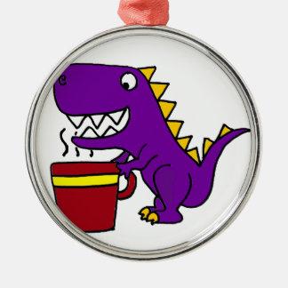 Funny Purple T-Rex Dinosaur with Coffee Mug Metal Ornament