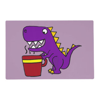 Funny Purple T-Rex Dinosaur with Coffee Mug Placemat
