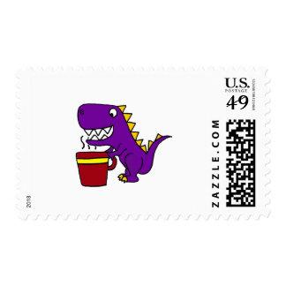 Funny Purple T-Rex Dinosaur with Coffee Mug Postage