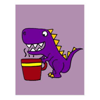 Funny Purple T-Rex Dinosaur with Coffee Mug Postcard