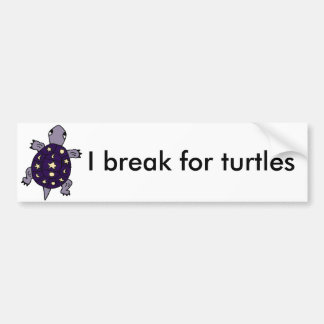 Funny Purple Turtle with Moon and Stars on Shell Bumper Sticker