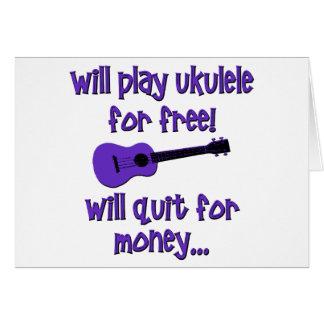 Funny Purple Ukulele Card