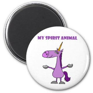 Funny Purple Unicorn Spirit Animal Magnet