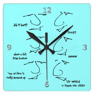 Funny put-down flirting -  talking heads square wall clock