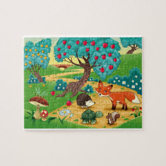 Funny puzzle with animals in the wood.