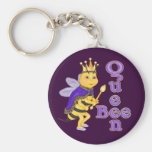 Funny Queen Bee Basic Round Button Keychain
