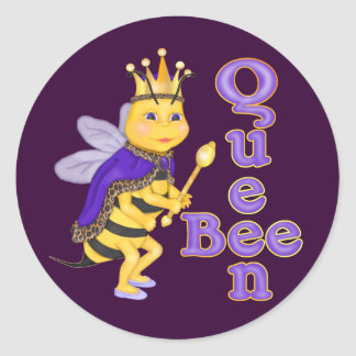 Funny Queen Bee Classic Round Sticker