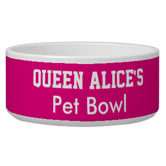 Funny Queen Dog Pink Pet Bowl PERSONALIZE NAME