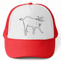 Funny Quizzical Goat Drawing Animal Art Design Trucker Hat