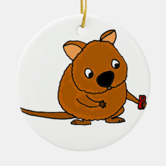Funny Quokka Taking Selfie Ceramic Ornament