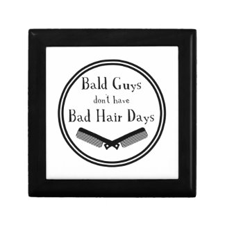 Funny Quote - Bald Guys Don't Get Bad Hair Days Keepsake Box